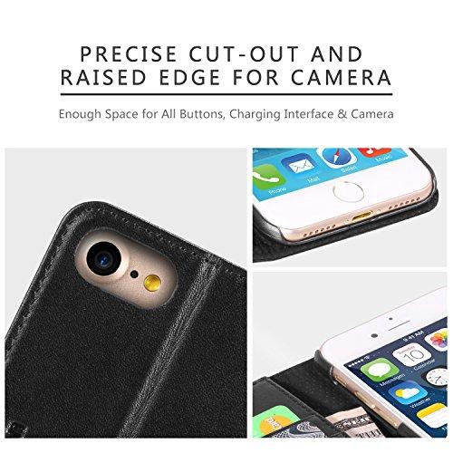 iPhone 8 Hülle, iPhone 7 Hülle (4,7 Zoll), SHIELDON [Lebenslange Garantie] Echt Leder Handyhülle iPhone 8 Tasche Case mit Kartenfach, Magnetverschluss und Standfunktion (Schwarz) Schwarz