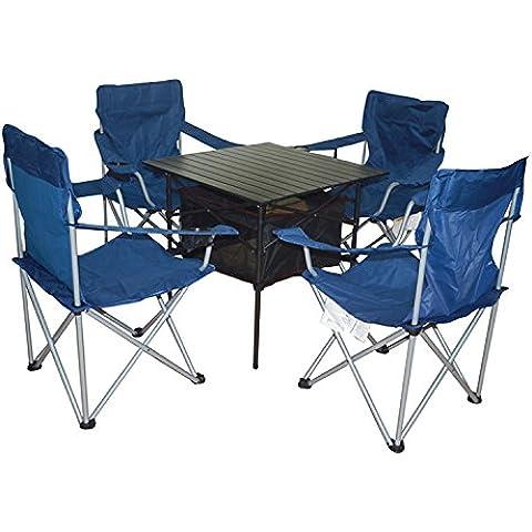XD-All'aperto tavolino pieghevole portatile tavolo e sedie set cinque pezzi combo in alluminio per il tempo libero , table 70*70*70 chair 48*48*91