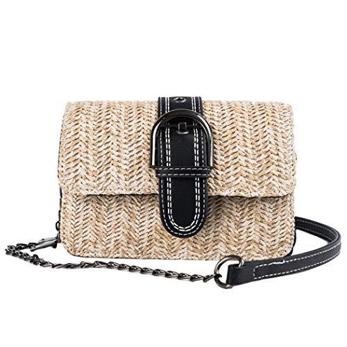 Auppy Damen Umhängetasche für den Sommer, Strand, Strohhalm, geflochten, Strandtasche Gr. One size, Schwarz