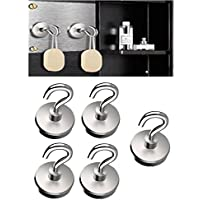 LifeKrafts Heavy Duty Magnetic Hooks for Multi-Function Indoor/Outdoor, Garage Tolls,Office,School Lockers,Fridge & Any Metal Surface.Pack 5
