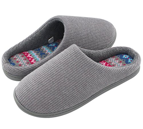 HomeIdeas Ladies' Comfort Memory Foam House Slippers, Knitted Anti-Slip Shoes with Colour Stripe (5-6 UK / Medium, Grey)