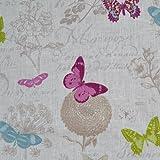 Leinenstoff | Schmetterling | Grundfarbe: Weiß | 100% Leinen Stoff | Stoffbreite: 140cm Meterware (1 meter)