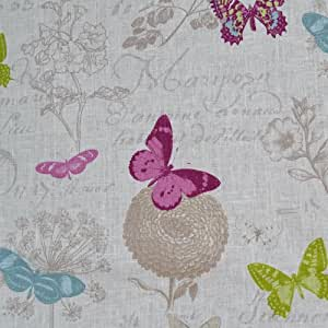 tissu en lin imprim papillon blanc 100 lin largeur 140cm 1 m tre. Black Bedroom Furniture Sets. Home Design Ideas