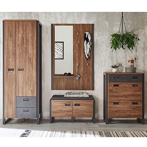 Lomadox Garderoben Komplettset im Industrial-Design  Stirling-Oak-Nb mit schieferfarbenen...
