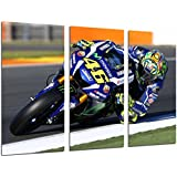 Tableau moderne fotografico moto Valentino Rossi, Yamaha, Moto, Route, 97 x 62 cm, réf. 26674