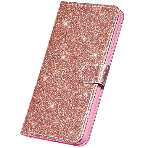 Surakey Coque Galaxy A6 2018 Etui Housse en Cuir PU Portefeuille Livre étui à Rabat,Brillant Paillette Glitter Folio Flip Case Cover Wallet Coque de Protectionn pour Samsung Galaxy A6 2018, Or Rose