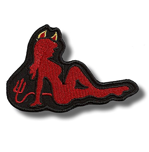 Devil Girl (Lone patch Devil Girl - Embroidered Patch 9 x 6 cm)