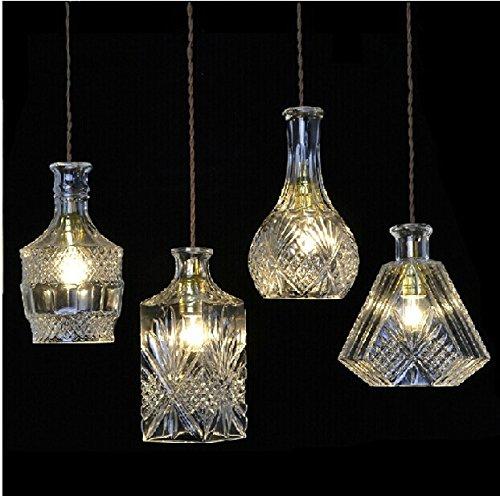 Nordic creative tagliare la bottiglia di vino lampadario di cristallo tre vintage lampadari lampadario bar (Art Deco Di Cristallo)