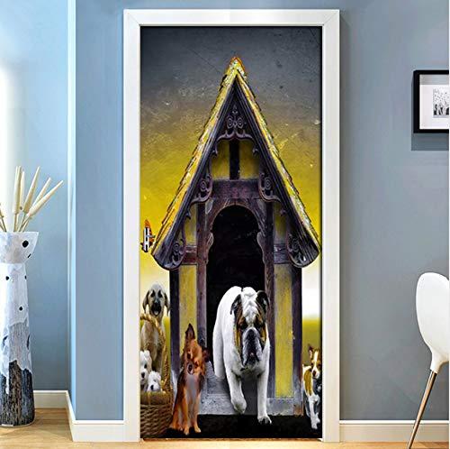 Europäische Hundehütte Niedlichen Hund PVC Selbstklebende 3D Tür Aufkleber Wandbild Tapete Für Kinderzimmer Dekor Hause Tür 3D Decals Poster-85X200 (Hundehütte Ich)