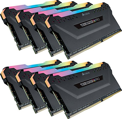 Corsair Vengeance RGB PRO 64 GB (8x8 GB) DDR4 2666MHz C16 XMP 2.0 Kit di Memoria Illuminato RGB LED Entusiasta, Nero