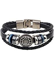 &ZHOU pulseras,3pcs, pulseras de moda, pulsera de cuero trenzado , black