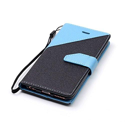 iPhone 6S Brieftasche,iPhone 6 Flip Case Cover, Aeeque® Glitzer Luxus [Schwarz Tiefes Blau Spleiß Stil] Kartenfach Standfunktion Handytasche für iPhone 6/6S mit Abnehmbar Handy Lanyard und Weich Silik Schwarz Hellblau