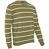 hemmy Fashion Herren Baumwoll Pullover gestreift (Oliv/XL)