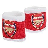 Arsenal FC Athletik Schweiß Bänder für das Handgelenk mit Club Wappen (2 Stück) (One Size) (Rot/Weiß)