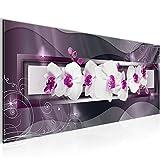 Bilder Blumen Orchidee Wandbild 100 x 40 cm Vlies - Leinwand Bild XXL Format Wandbilder Wohnzimmer Wohnung Deko Kunstdrucke Violett 1 Teilig -100% MADE IN GERMANY - Fertig zum Aufhängen 206412b