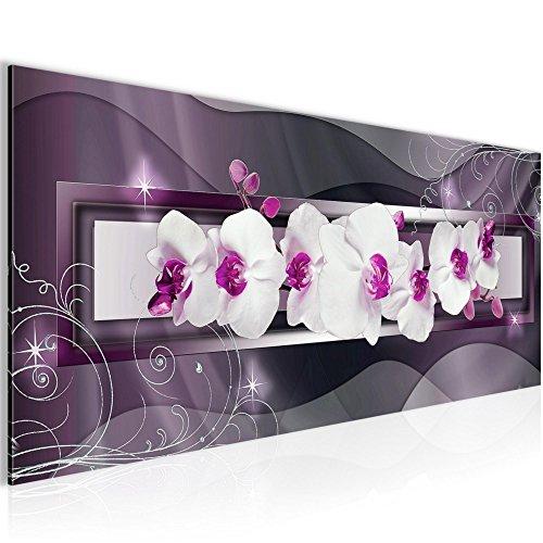 Bilder Blumen Orchidee Wandbild 100 x 40 cm Vlies - Leinwand Bild XXL Format Wandbilder Wohnzimmer Wohnung Deko Kunstdrucke Violett 1 Teilig -100% MADE IN GERMANY - Fertig zum Aufhängen 206412b (Bilder Von Orchideen)