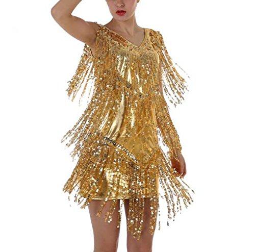 MYLL Sexy V-Ausschnitt Hang Neck Pailletten Quaste Latin Dance Rock Lombard Bühne Kostüm Bankett ()