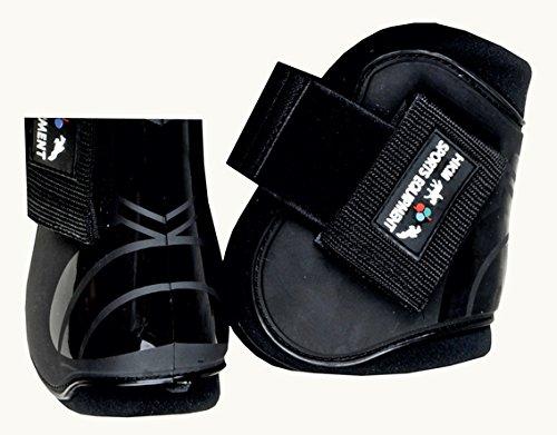 HKM 561239 HKM Springgamaschen und Streichkappen, 4er Set, Vollblut/Warmblut, schwarz/schwarz