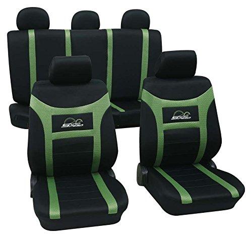 Preisvergleich Produktbild Sitzbezug Schonbezug Autositzbezug, Komplett Set, Skoda Oktavia Scout, Schwarz, Grün