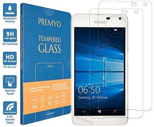 PREMYO 2 Stück Panzerglas Schutzglas Bildschirmschutzfolie Folie kompatibel für Microsoft Lumia 650 Blasenfrei HD-Klar 9H Gegen Kratzer Fingerabdrücke