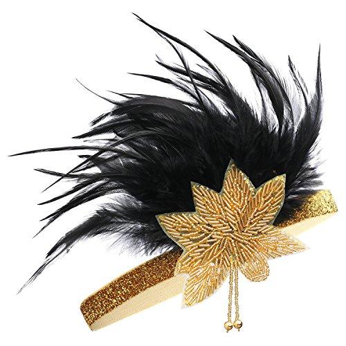 BABEYOND Damen Karneval Stirnband Schwarz Feder Haarband Damen Karneval Festzug Accessoires 1920 Flapper Gatsby Blatt Muster Stirnband (Gold)