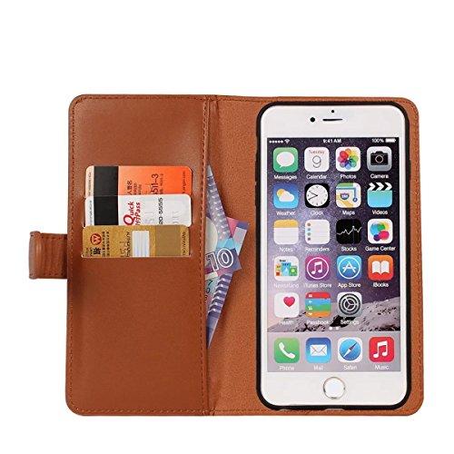 iPhone 6 Hülle, iPhone 6S Hülle, Gift_Source [ Rosa ] Leder Phone Case Hülle Brieftasche mit Kartenfächer [Geldscheinfach mit Reißverschluss] Premium Börse Tasche mit abnehmbaren Magnet Handy Schutzhü E1-Braun