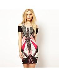 Un hombro femenino Vestido impreso Vestido de vendaje de discoteca . picture color . s