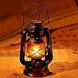 Omkuwl Lámpara portátil de queroseno de metal de época Lámpara de keroseno de camping de hierro para fotos Apoyos negros