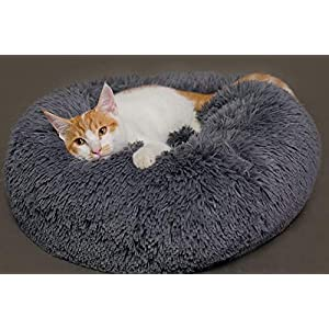 Hioowiu Warme Fleece Hundebett Runde Pet Lounger Kissen für kleine, mittelgroße Hunde Katze Winter Hundehütte Welpen Mat Grau_60cm