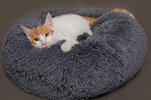 Hioowiu Warme Fleece Hundebett Runde Pet Lounger Kissen für kleine, mittelgroße Hunde Katze Winter Hundehütte Welpen Mat Grau_50cm -