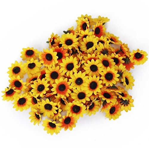 Kostüm Topf Kopf - TININNA 100 Stück Klein Mini Künstliche Gerbera Blumen Köpfe Sonnenblume Gänseblümchen für DIY Hochzeit gelb EINWEG Verpackung