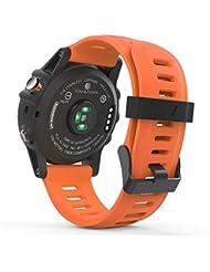 MoKo Garmin Fenix 3 / Fenix 5x Sport Watch Armband - Silikon Sportarmband Uhr Band Strap Ersatzarmband Uhrenarmband mit Werkzeug für Garmin Fenix 3 / Fenix 3 HR GPS Smart Watch, Orange
