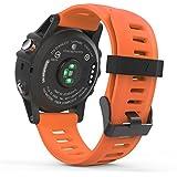 MoKo Garmin Fenix 3 Accesorios, Banda Reemplazo de Silicona Suave Deportiva con Herramientas para Garmin Fenix 3 / Fenix 3 HR Smart Watch - Anaranjado