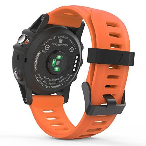 MoKo Watch Armband Fit Garmin Fenix 3/Fenix 3 HR/Fenix 5X/5X Plus/D2 Delta PX - Silikon Sportarmband Uhr Band Strap Ersatzarmband Uhrenarmband mit Werkzeug - Orange -