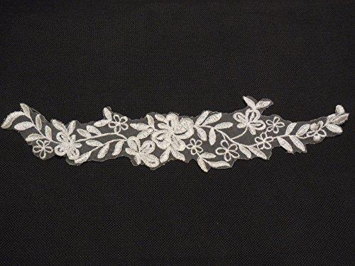 Off Weiß Brautschmuck Hochzeit Spitze Applikation Floral Organza Spitze Motiv 30cm x 6cm-Pro Stück * * FREE UK P & P * * Schnelle Lieferung * *