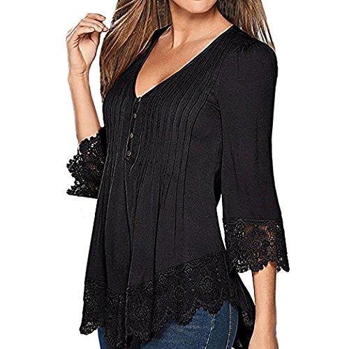 Hippolo Damen Langarmshirt Neue Mode Vier Jahreszeiten Tops V-Ausschnitt Einfarbig Aufdruck Spitze T-Shirt Locker Faltenbluse (X-Large, Schwarz)
