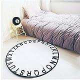 BAIBAI Teppich Teppich Schwarz Weiß Runde Elastizität Kind 40Cm 80Cm 120Cm 150Cm,Durchmesser 120 cm,Weiß