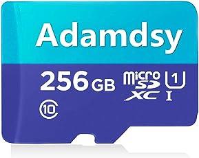 Adamdsy Micro SD Karte 256GB, microSDXC 256GB Speicherkarte + SD-Adapter für Kameras, Tablets und Android Smartphones