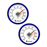 2 Stück Set Rundes Bimetall Analog Klebe Kühlschrankthermometer . Kühlschrank Thermometer Temperatur Anzeige + / - 50 °C - Farbe blau