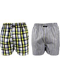 2 Webboxer Boxershorts Boxer von CITYLIFE für Jungen blau weiss grau gelb 140 152 164 176