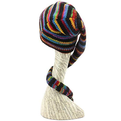 LOUDelephant 'Tinky Winky'en laine Space Dye queue Bonnet à doublure polaire - Black & Rainbow Space Dye
