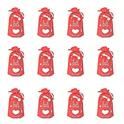 Sacco di Natale con Cordoncino, Borsa con Coulisse Candy,12 Pezzi Sacchetto Portaoggetti di Natale Riutilizzabile per Mettere Candy,Calza di Natale, Mela,Regali,Decorazioni Natalizie