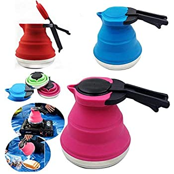 1.5L Silicone Funnel HULISEN Portable Silicone Collapsible Tea Kettle,Outdoor Camping Travel Kettle Foldable