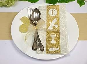 Crema tovaglioli calice pesce comunione conferma battesimo decorazioni tavola