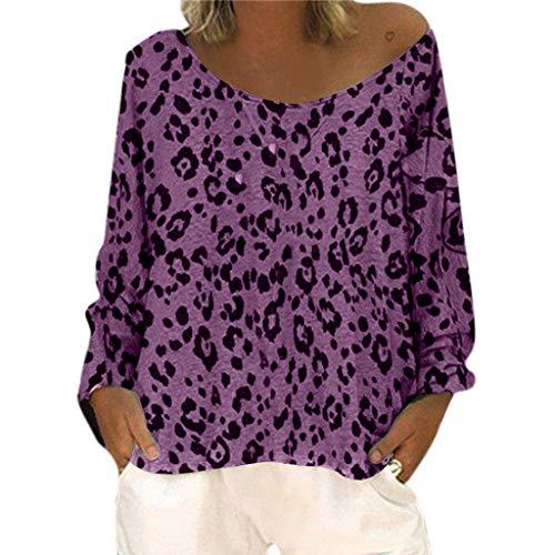 LILIGOD Frauen Langärmliges T-Shirt Damen Lockeres und Elegantes T-Shirt Rundhalsausschnitt Gedruckte Shirt Bluse Beiläufige Größen Damenhemden Leopard Schulter Blusen Oberteil -
