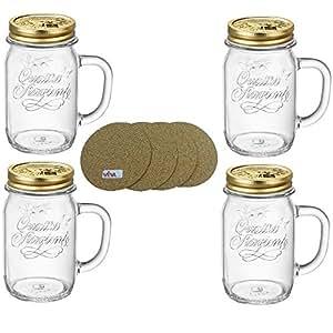 viva haushaltswaren 4 trinkgl ser gl ser mit henkel und schraubdeckel 415 ml. Black Bedroom Furniture Sets. Home Design Ideas