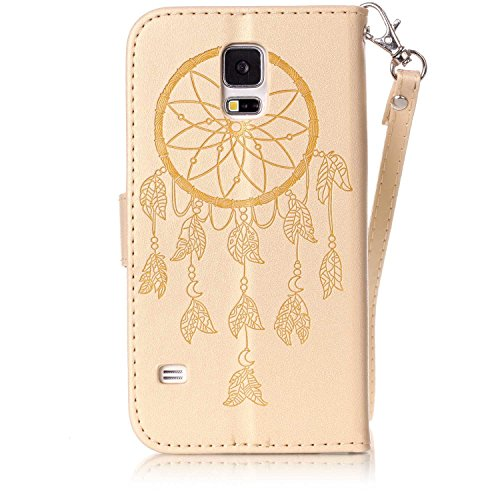 Galaxy S5 Mini Coque Rabat,Housse Samsung Galaxy S5 Mini Bling Bling,Ekakashop Jolie Rose Demi-fleur Strass étoiles Paillettes Brillant Design Bookstyle Portefeuille à Fermeture Wallet Shell de Protec D'or Dreamcatcher