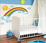 Rainbow Wolken und Sonne Full Farbe Wandtattoo Jungen & Mädchen Aufkleber Kinderzimmer Baby Spielzimmer oder Art 931..., 150cm/75cm