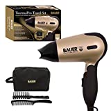Bauer Ionic Tourmaline Travel Hair Dryer Set, with Soft Touch Carry Case, Hairbrush & Comb - Tourmapro Travel Set - 1200w