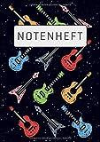 Notenheft: DIN A4 | 120 Seiten | Blanko Notenblock | Für Anfänger und Fortgeschrittene | Große Lineatur | Musik Schreibheft | Leere Notensysteme